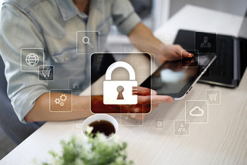 Wall Mural - Data protection, Cyber security, information safety and encryption. internet technology and business concept.  Virtual screen with padlock icons.