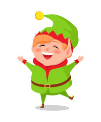 Merry Elf in Green Suit Stands on One Leg and Sing