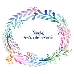 Watercolor hand-drawn herbal spring wreath. Great design for wedding invitation, mother's day, birthday and valentines card.