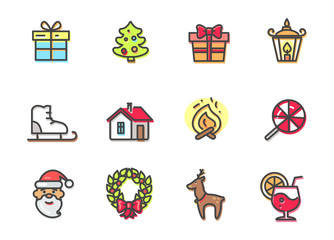Christmas Objects Collection Vector Illustration