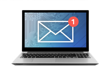 New email graphic on laptop isolated on white background with clipping path