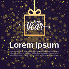 New Year Background Decoration Design Gift Box Over Shiny Night Sky Vector Illustration