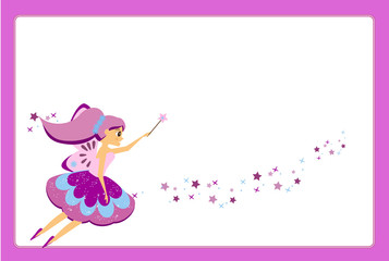 Beautiful flying fairy character with purple wings. Elf princess with magic wand. Purple frame design template for photos, children diplomas, kids certificate, invitations and etc