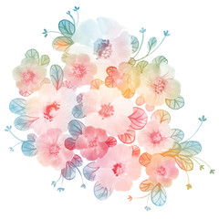 Flowers watercolor illustration with wild flowers. Hand painted colorful composition. Great backdrop for Mother's Day, wedding, birthday, Easter, Valentine's Day. Pastel rainbow colors.