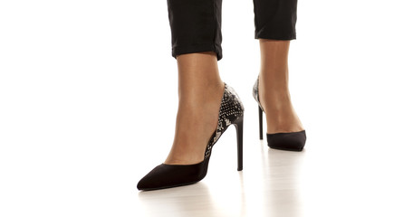 elegant women's shoes with high heels from python skin