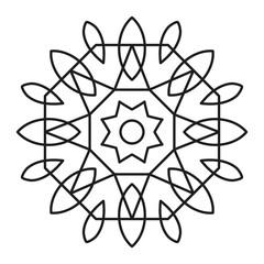 Simple Mandala Shape for Coloring. Vector Mandala. Floral. Flower. Oriental. Book Page. Outline.