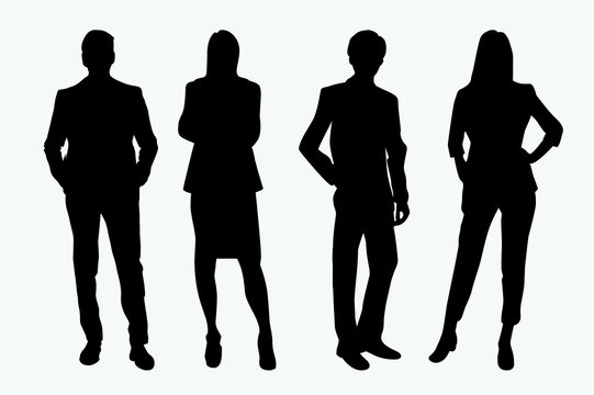 Business people vector silhouettes couple of man and woman standing. Businessman and businesswoman in black color isolated on white background.