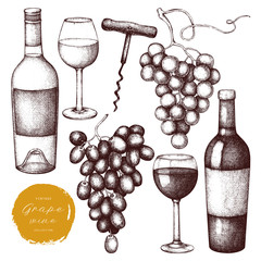 Vintage grape wine set.  Vector illustration with wine glass, grapes, bottle. Hand drawn alcoholic drink sketch on white background.