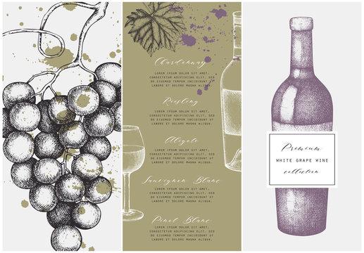 Vintage wine list.  Vector illustration with wine glass, grapes, bottle. Hand drawn alcoholic drink template. Bar menu design