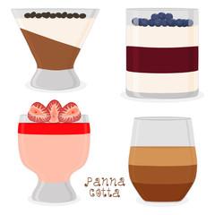 Vector illustration for sweet panna cotta