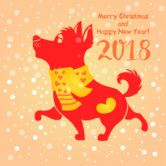 red dog silhouette on light snowy background. symbol of chinese new year. vector illustration
