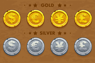 Gold and silver old Dollar, Euro, Pound and Yen coins. Vector assets for game design.