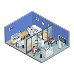 Pharmaceutical Research Production Isometric Background