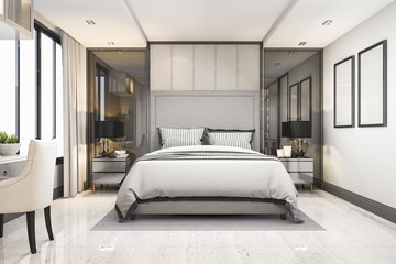 3d rendering white modern luxury bedroom suite in hotel with decor