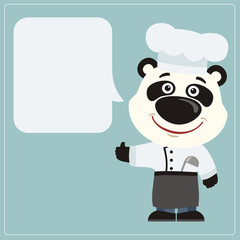 Chef panda bear with speech bubble in cartoon style. Smiling panda cook says and shows like.