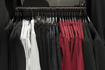 Classic men clothes, suits, shirts and pants