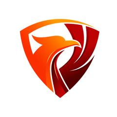 luxury phoenix shield logo template
