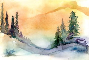 Watercolor drawing, illustration. Forest landscape, fir, pine, tree, cedar, orange sky, sun, sunset, sunrise. Splash paint, abstract illustration. Art painting. Winter landscape.