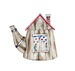 hand drawn watercolor fairy house in the shape of a kettle on a white background