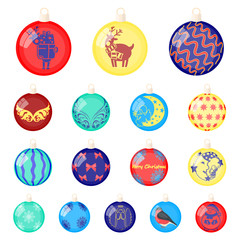 Christmas toys cartoon icons in set collection for design.New Year balls vector symbol stock web illustration.