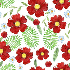 seamless pattern with flowers, berries and leaves
