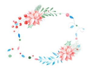 Winter floral wreath with branches