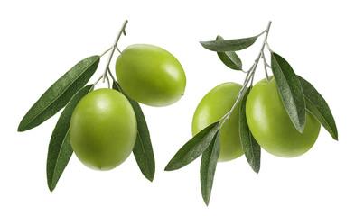 Green olive double set isolated on white background