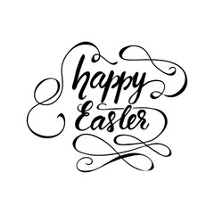 Greeting card design with lettering Happy Easter. Vector illustration.