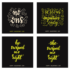 Set of Funny card designs with lettering phrases. Vector illustration.