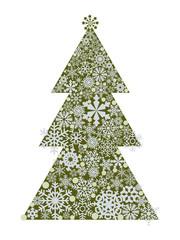 Winter festive pine. Vector image of a design ornament of a coniferous tree.