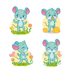 Set of funny cartoon mouses for children educational games. Vector illustration of little forest animals isolated.