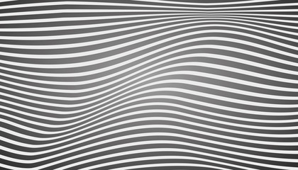 Black and white waves. Surface curved lines, abstract vector design