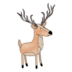 deer cartoon with long horns colored crayon silhouette in white background