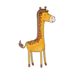 giraffe cartoon colored crayon silhouette in white background