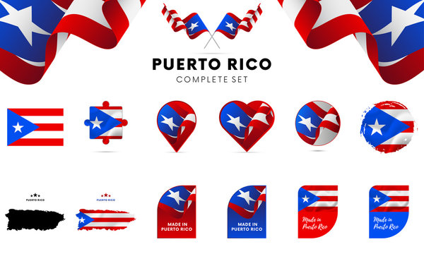 Puerto Rico complete set. Vector illustration.