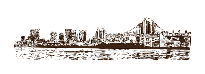 Tokyo Bay at Rainbow Bridge, Tokyo, Japan. Hand drawn sketch in vector illustration. Vector illustration for a postcard or a poster. white background.