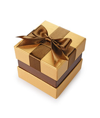 Golden classic shiny gift box with brown satin bow
