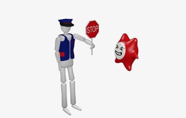 wütender Computervirus steht vor Wachmann mit Stop Schild.