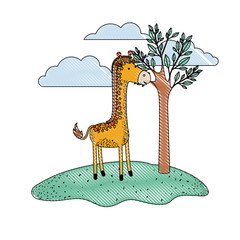giraffe cartoon in outdoor scene with tree and clouds in colored crayon silhouette