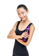 Asian woman in sportswear with bottle of water