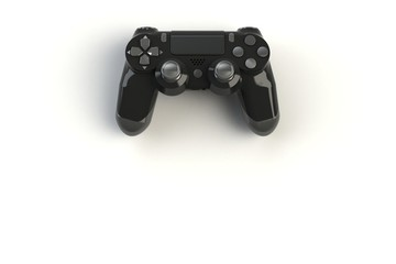 Computer game competition. Gaming concept. Black joystick isolated on white background, 3D rendering