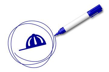 blauer Filzstift kreist ein Kappe