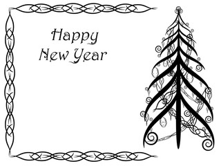 Abstract card with floral ornament on the sides of the picture in shades of black. Black Christmas tree. Happy New Year card, vector illustration