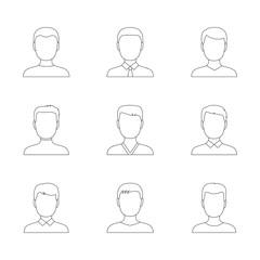 Set of outline icons of men, vector illustration