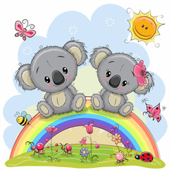 Two Koalas are sitting on the rainbow