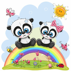 Two Pandas are sitting on the rainbow
