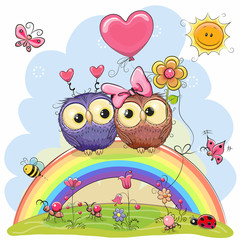Two Owls are sitting on the rainbow
