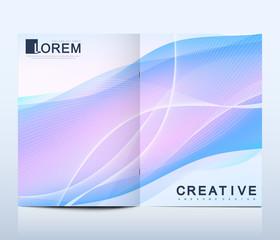 Fototapeta Modern vector template for bi fold brochure, leaflet, flyer, cover, catalog, magazine or annual report in A4 size. Colorful fluid waves with gradients. Futuristic trendy design