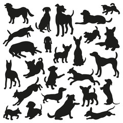Set of dogs silhouette. Vector illustration for your cute design.