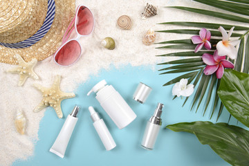 Summer and sunscreen, Beauty cosmetics product for skin care and women accessories on the beach. (Sun protection product concept)